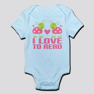 i love to read pink ladybugs Body Suit