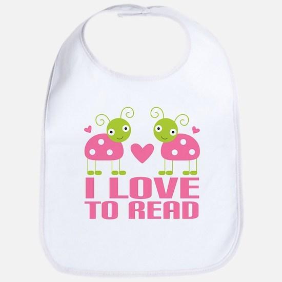 i love to read pink ladybugs Baby Bib