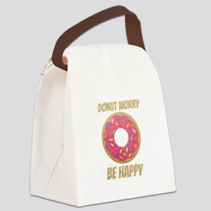 Donut Worry Be Happy Canvas Lunch Bag