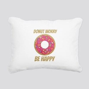 Donut Worry Be Happy Rectangular Canvas Pillow