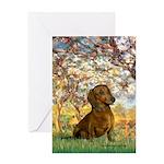 Spring / Dachshund Greeting Card