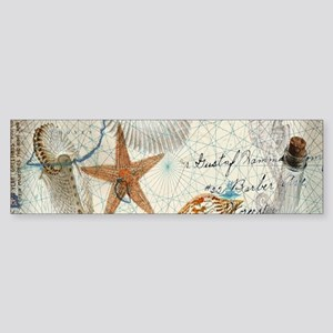 vintage nautical beach sea shells Bumper Sticker