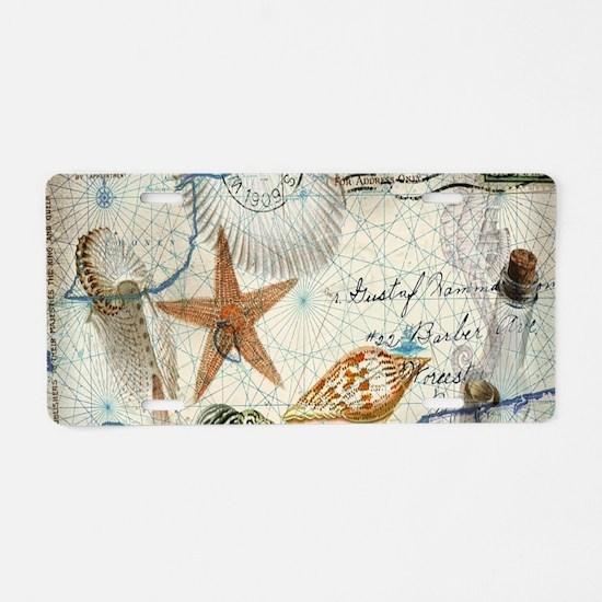 vintage nautical beach sea Aluminum License Plate