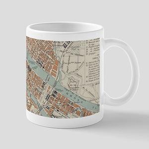 Vintage Map of Lyon France (1888) Mugs