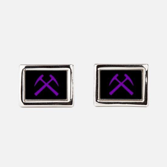 Purple Crossed Rock Hammers Rectangular Cufflinks