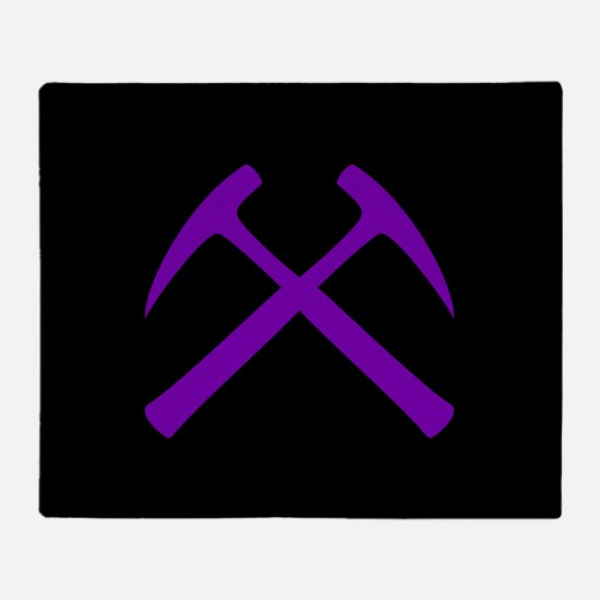 Purple Crossed Rock Hammers Throw Blanket