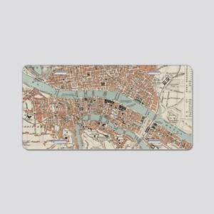 Vintage Map of Lyon France Aluminum License Plate