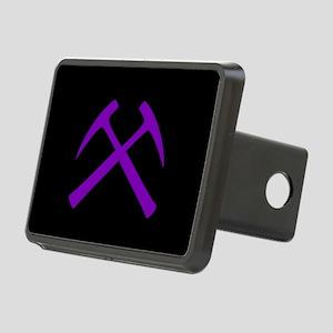 Purple Crossed Rock Hammer Rectangular Hitch Cover
