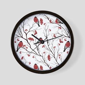 Winter Birds White Wall Clock