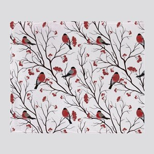 Winter Birds White Throw Blanket