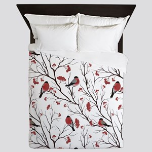 Winter Birds White Queen Duvet