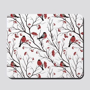 Winter Birds White Mousepad