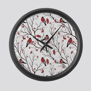 Winter Birds White Large Wall Clock