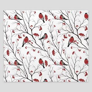Winter Birds White King Duvet