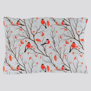 Winter Birds Grey Pillow Case
