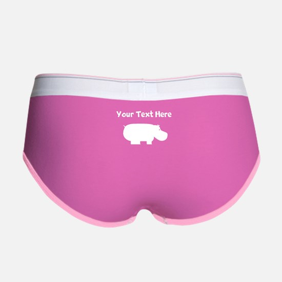 Custom Hippopotamus Silhouette Women's Boy Brief
