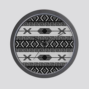 Black And White Aztec Pattern Wall Clock