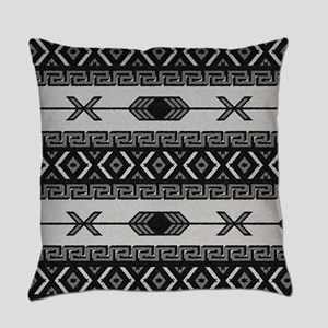 Black And White Aztec Pattern Everyday Pillow
