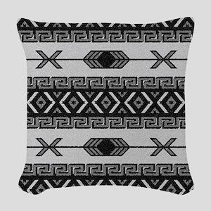 Black And White Aztec Pattern Woven Throw Pillow