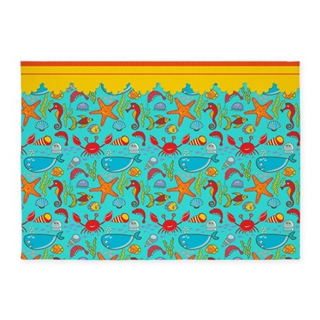 under the sea 5 39 x7 39 area rug by spicetree. Black Bedroom Furniture Sets. Home Design Ideas