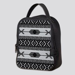 Black And White Aztec Pattern Neoprene Lunch Bag
