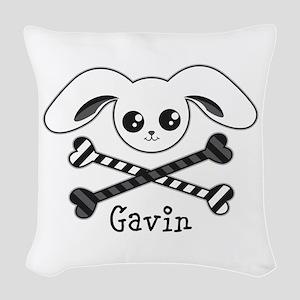 Bunny Crossbones Woven Throw Pillow