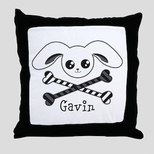 Bunny Crossbones Throw Pillow