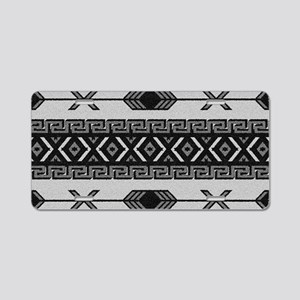 Black And White Aztec Patte Aluminum License Plate