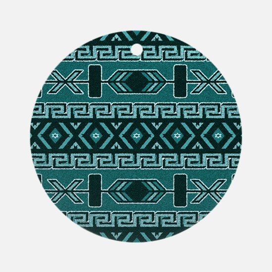 Turquoise Aztec Pattern Round Ornament