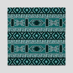 Turquoise Aztec Pattern Queen Duvet