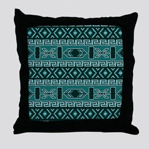 Turquoise Aztec Pattern Throw Pillow