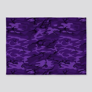 Dark Purple Camouflage 5'x7'Area Rug