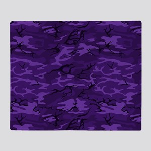 Dark Purple Camouflage Throw Blanket