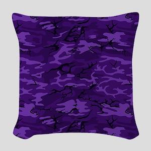 Dark Purple Camouflage Woven Throw Pillow