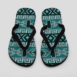 Turquoise Aztec Pattern Flip Flops