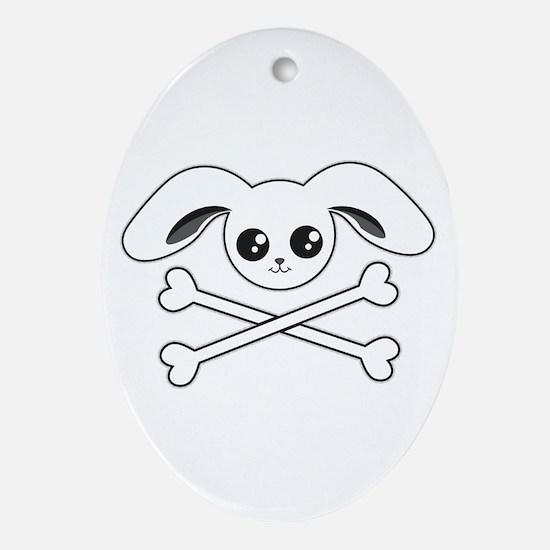 Bunny Skull Oval Ornament