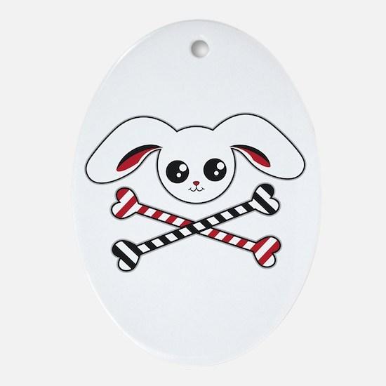 Bunny Crossbones Oval Ornament