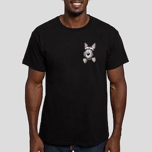 Pocket Schnauzer Men's Fitted T-Shirt (dark)