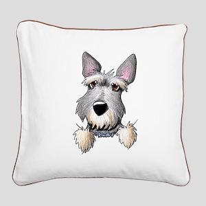 Pocket Schnauzer Square Canvas Pillow