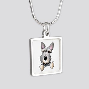 Pocket Schnauzer Silver Square Necklace