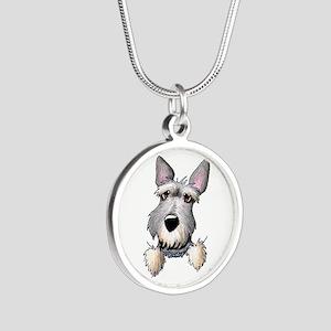 Pocket Schnauzer Silver Round Necklace
