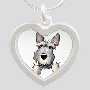 Pocket Schnauzer Silver Heart Necklace