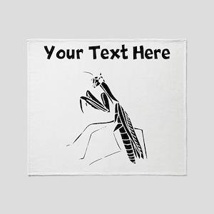 Custom Preying Mantis Silhouette Throw Blanket