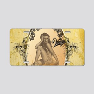 Beautiful pin up girl Aluminum License Plate