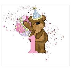 Teddy Bear 1st Birthday Poster