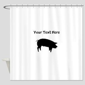 Custom Pig Silhouette Shower Curtain