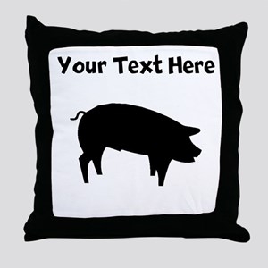 Custom Pig Silhouette Throw Pillow