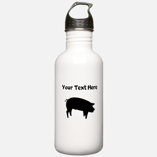 Custom Pig Silhouette Water Bottle