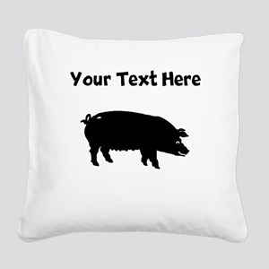 Custom Pig Silhouette Square Canvas Pillow