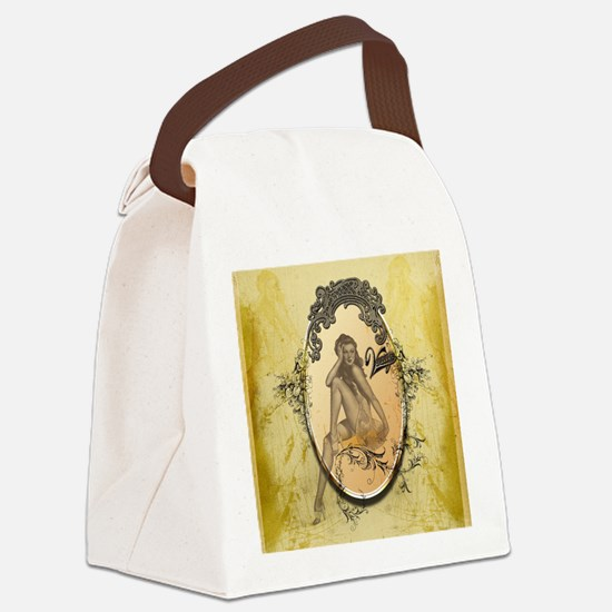 Beautiful pin up girl Canvas Lunch Bag
